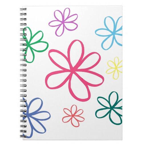 Jasmine Simple Floral Spiral Note Books