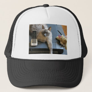 Jasmine the Siamese Cat takes care of business Trucker Hat