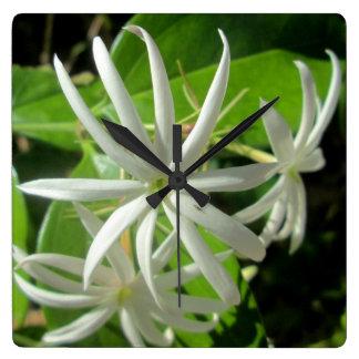 Jasmine White Green Flower Wallclocks