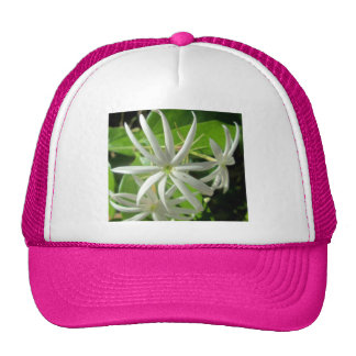Jasmine White Green Flower Mesh Hats