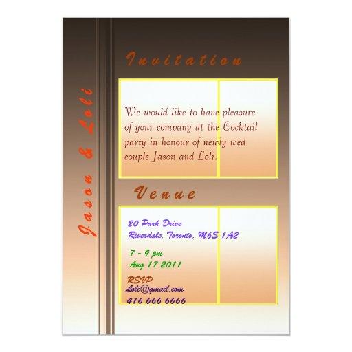Jason and Loli Golden Spark Wedding Cocktail 5x7 Paper Invitation Card