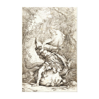 Jason and the Dragon (17th century Etching) Canvas Print