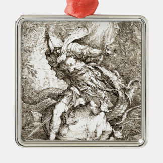 Jason and the Dragon (17th century Etching) Metal Ornament