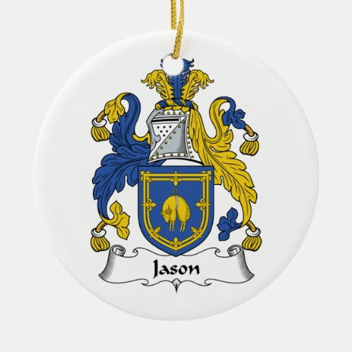 Jason Family Crest Double-Sided Ceramic Round Christmas Ornament