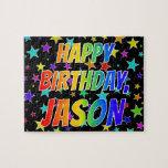 "[ Thumbnail: ""Jason"" First Name, Fun ""Happy Birthday"" Jigsaw Puzzle ]"