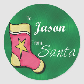 Jason Personalized Christmas Label65 Classic Round Sticker
