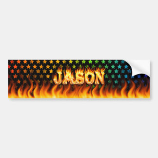 Jason real fire and flames bumper sticker design.