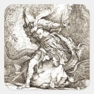 Jason y el dragón (aguafuerte del siglo XVII) Pegatina Cuadrada