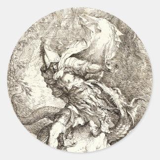 Jason y el dragón (aguafuerte del siglo XVII) Pegatina Redonda