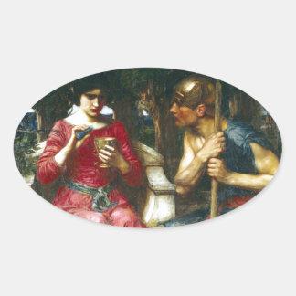 Jason y Medea del Waterhouse de Juan Pegatina Ovalada