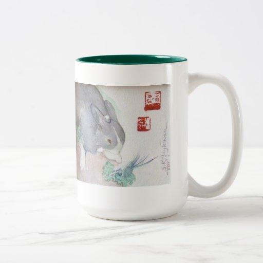 Jaspe la taza del Dos-tono del conejito - verde