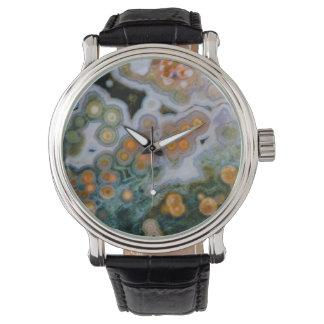 Jaspe manchado del océano relojes de pulsera