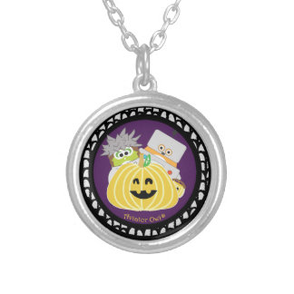 Jasper and Kevin behind a Pumpkin Round Pendant Necklace