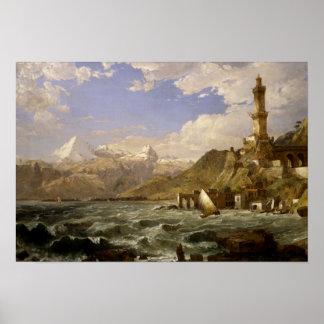 Jasper Francis Cropsey - The Coast of Genoa Poster
