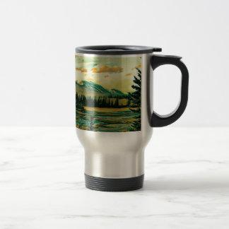 Jasper National Park River with mountain view Travel Mug