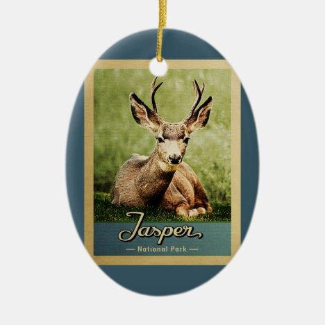 Jasper National Park Vintage Travel Deer Ceramic Ornament