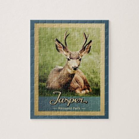Jasper National Park Vintage Travel Deer Jigsaw Puzzle