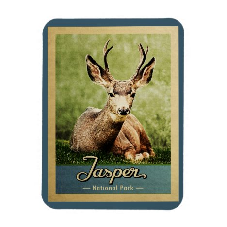 Jasper National Park Vintage Travel Deer Magnet