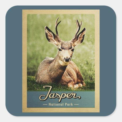 Jasper National Park Vintage Travel Deer Square Sticker