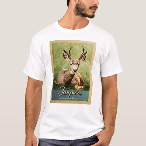 Jasper National Park Vintage Travel Deer T-Shirt
