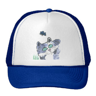 Jasper Watches a Blue Butterfly Trucker Hat