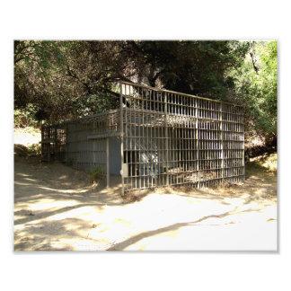 Jaula abandonada en el parque zoológico viejo del  cojinete