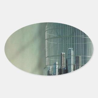 Jaula de pájaros abstracta de la ciudad pegatina ovalada