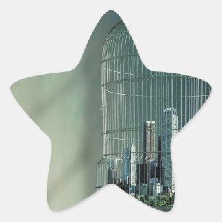 Jaula de pájaros abstracta de la ciudad pegatina en forma de estrella