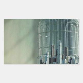 Jaula de pájaros abstracta de la ciudad pegatina rectangular