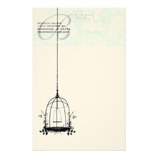 Jaula de pájaros del vintage del monograma con el papelería personalizada