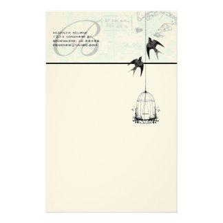 Jaula de pájaros del vintage del monograma con el papeleria personalizada