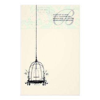 Jaula de pájaros del vintage del monograma con el personalized stationery