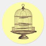Jaula de pájaros del vintage etiquetas redondas