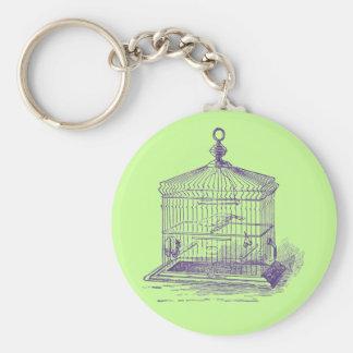 Jaula de pájaros del vintage llaveros personalizados