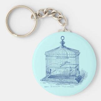 Jaula de pájaros del vintage llavero redondo tipo pin