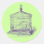 Jaula de pájaros del vintage pegatina redonda