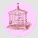 Jaula de pájaros del vintage pegatinas redondas