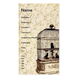Jaula de pájaros del vintage tarjetas de visita