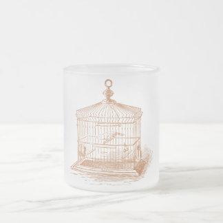 Jaula de pájaros del vintage taza de cristal
