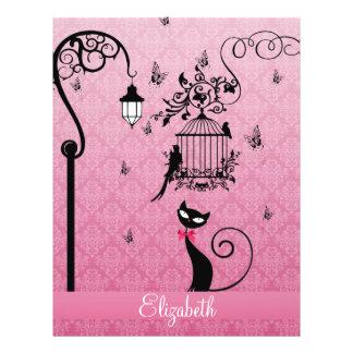 "Jaula de pájaros femenina elegante hermosa del folleto 8.5"" x 11"""