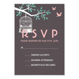 """Jaula de pájaros gris y rosada del vintage de la invitación 3.5"""" x 5"""""""
