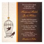 Jaula de pájaros imaginaria - boda anaranjado del  invitaciones personalizada