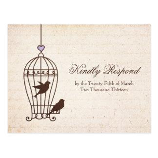 Jaula de pájaros imaginaria - lavanda y Brown que  Postales