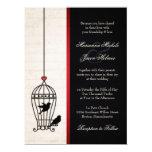 Jaula de pájaros imaginaria y boda rojo romántico invitación 16,5 x 22,2 cm