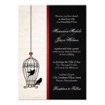 Jaula de pájaros imaginaria y boda rojo romántico invitación 12,7 x 17,8 cm