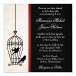 Jaula de pájaros imaginaria y cuadrado rojo invitación 13,3 cm x 13,3cm