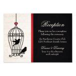 Jaula de pájaros imaginaria y recepción roja invitación 12,7 x 17,8 cm