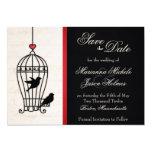 Jaula de pájaros imaginaria y reserva romántica de invitación 12,7 x 17,8 cm