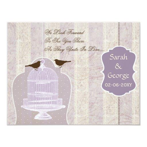 Jaula de pájaros púrpura elegante, pájaros RSVP Invitación 10,8 X 13,9 Cm