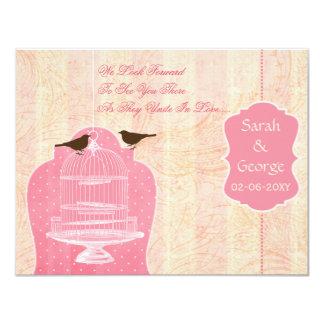 Jaula de pájaros rosada elegante, pájaros RSVP del Invitación 10,8 X 13,9 Cm